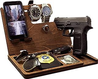 LegnoVault Wooden Gun Docking Station - Police Officer Gifts, Bedside Holster Men Gift Ideas, Mens Birthday Gift, Gun Concealment Decor, Wood Phone Docking Station, Gifts for, Gun Holder, Pistol Rack
