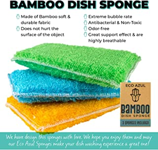 ECO AZUL Bamboo Dish Sponge Non-Scratch Eco-Friendly Odor-Free Biodegradable Kitchen Cleaning (3 Pack)
