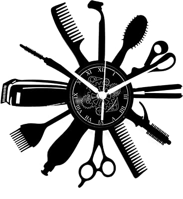 Vinyl Wall Clock Vintage Handmade Decor Hairdressing Modern Design Beard Hairdressing Beauty Man Women Girl Salon