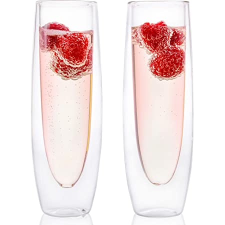Glass Champagne Flutes - Set of 2 - Stemless Sparkling Wine Glasses - 5 oz - Mimosa Wine Flute For Weddings Bridesmaid Party and Bridal Showers -Eparé