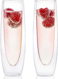 Glass Champagne Flutes – Set of 2 – Stemless Sparkling Wine Glasses – 5..