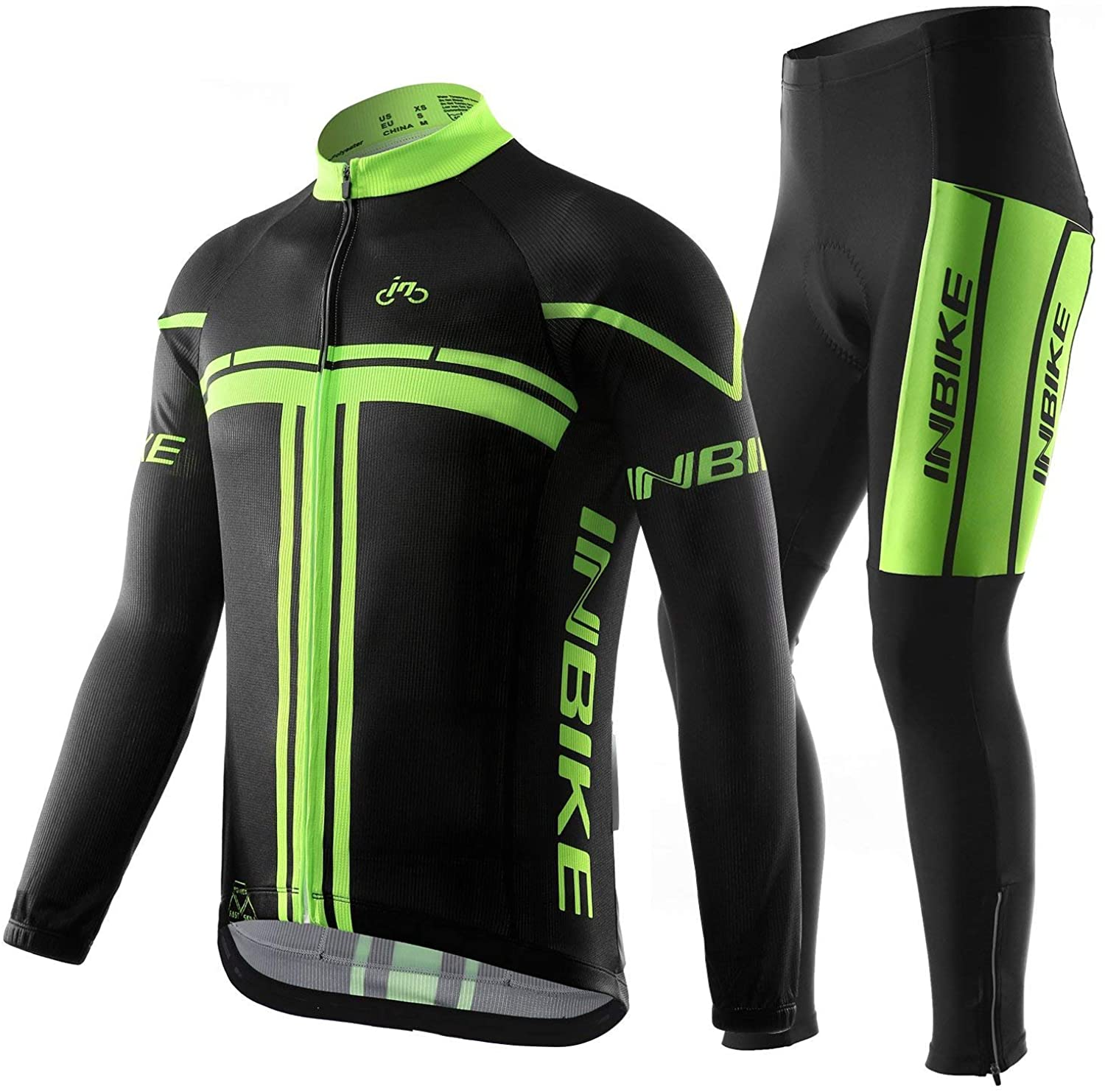 INBIKE Men's Long Sleeve Bike Jersey Set 3D Padded Tights Suit for Outdoor Cycling