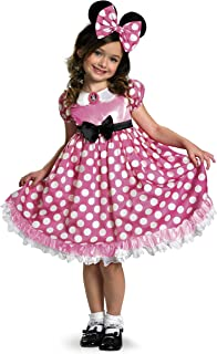 Minnie Mouse Glow In The Dark Dot Dress Costume, Pink/White, Small