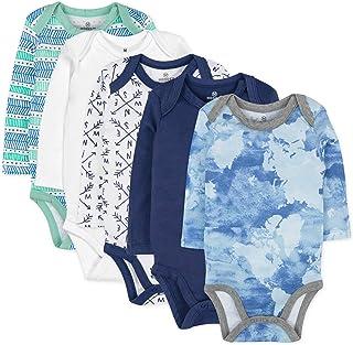 HonestBaby Baby 5-Pack Organic Cotton Long Sleeve Bodysuits