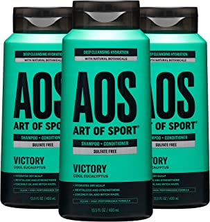 Art of Sport Men's Shampoo and Conditioner (3-Pack) - Victory Scent - Sulfate Free Shampoo and Conditioner 2-in-1 with Nat...