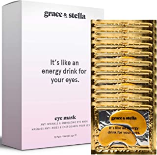 Grace & Stella Collagen Eye Masks 24K Gold Hydrogel Anti-Aging Under Eye Patches, Treatment for Puffy Eye Bags, Dark Circle Wrinkles Pads, Improve Elasticity Elimiate Tiredness Puffiness (12 Pairs)