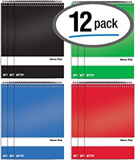Spiral Steno Pads, 12 Pack, 6 x 9 inches, 80 Sheets, White Paper, Gregg Rule, by Better Office Products, Assorted Solid Colors (Red, Black, Blue, Green), 12 Pack