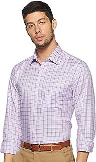 Arrow Men's Checkered Regular Fit Formal Shirt, Pink