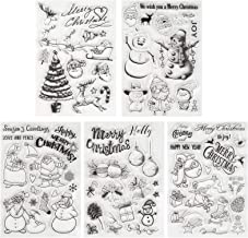Kesoto 5 Pieces Christmas Theme Clear Stamps Scrapbooking Album Paper Cards Making Decoration