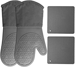 HOMWE Silicone Oven Mitts and Pot Holders (4-Piece Set) Heavy Duty Cooking Gloves, Kitchen Counter Safe Trivet Mats | Adva...