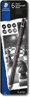 Staedtler Mars Lumograph Black, Carbon Blend Provides Jet Black Lines, Professional Art Pencils, Tin of 6 Assorted Black Sketch Pencils, 100B G6