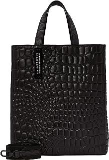 Liebeskind Berlin Damen Paper Bag Tote Kroko Handtasche, Schwarz (Black), Medium