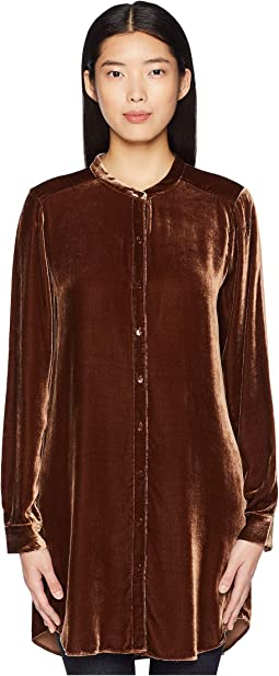 Velvet Mandarin Collar Long Shirt