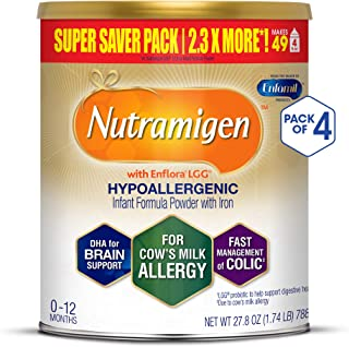 Enfamil Nutramigen Infant Formula with Enflora LGG - Hypoallergenic & Lactose-Free for Fast Colic Management - Powder Can, 27.8 oz (Pack of 4)