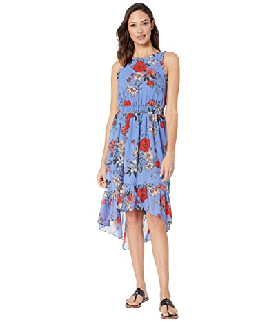 Vince Camuto Printed Bateau Neck Fit and Flare Dress (Blue Multi) Women
