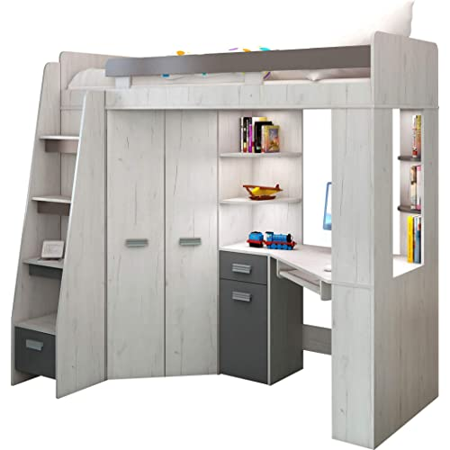 high sleeper bed with desk and wardrobe