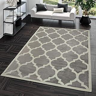 comprar comparacion TT Home Alfombra De Salón Moderna De Pelo Corto Diseño Marroquí para Interior En Gris, Größe:120x170 cm