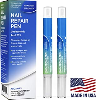 Aroamas Fungus Nail Repair Pen for Nail Renewal 2Pcs, MADE IN USA – For Fingers and Toes, Maximum Strength, Undecylenic Acid 25%, Relieves Discomfort Caused by Athlete's Foot & Ringworm