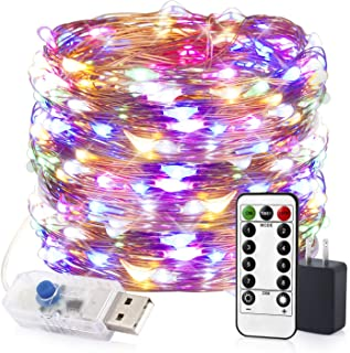 Innotree Color Changing Fairy Lights USB Plug in with Remote Dimmable, 33ft 100 LEDs Multi-Colored Firefly Twinkle String Lights for Bedroom Indoor Outdoor Party Wedding Decoration, Copper Wire
