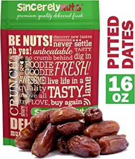 Sincerely Nuts Dried Pitted Dates (1 LB) Healthy Alternative Dessert-Fiber and Vitamin Rich Snack-Great Addition to Smoothies, Recipes, and More-Vegan, Gluten-Free and Kosher Superfood