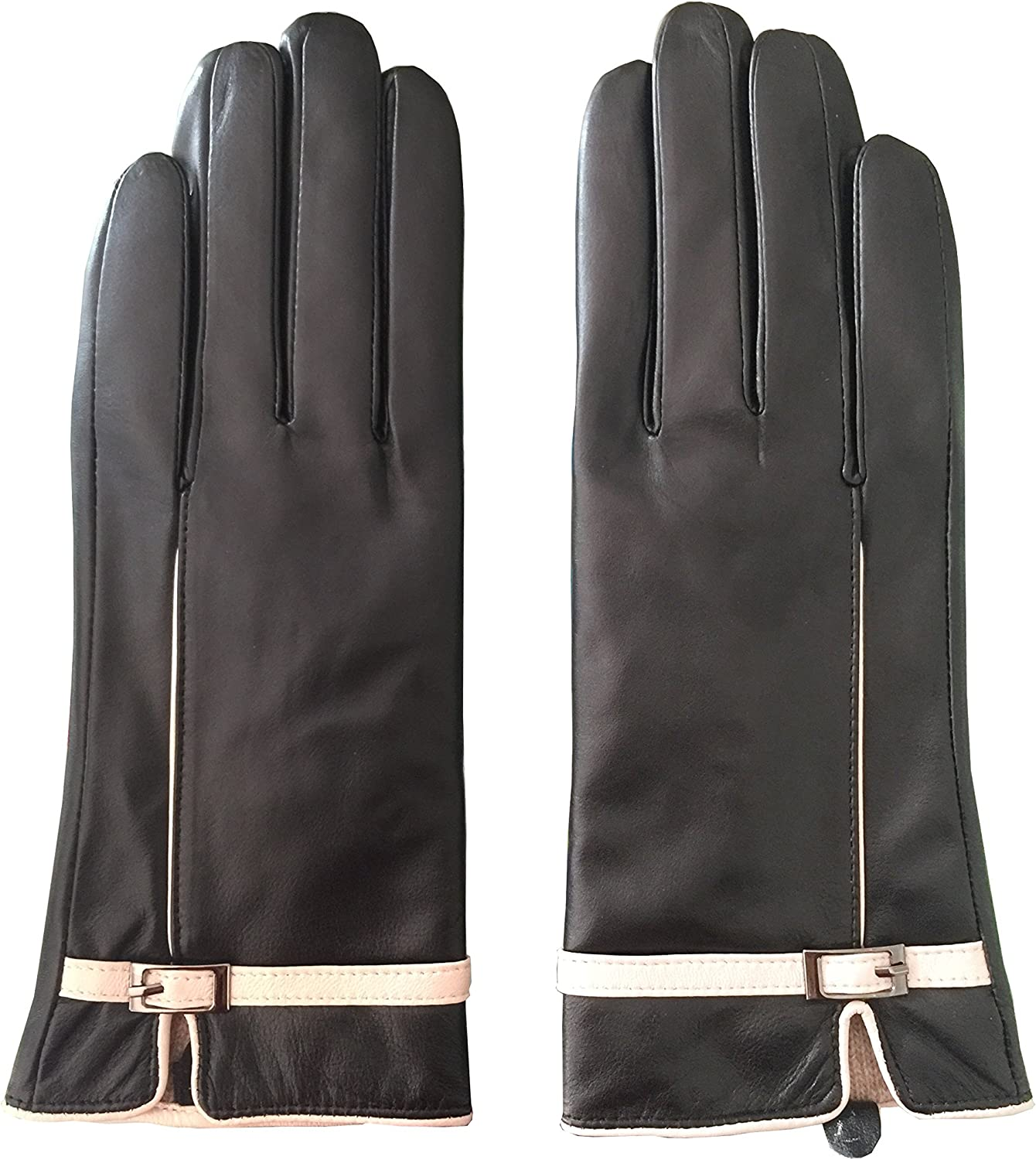 MarSue Women's Cashmere Ethiopian Lambskin Leather Winter Gloves with Cashmere Lining and Full-Hand Touchscreen