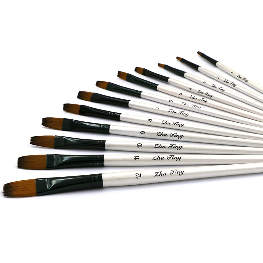 YOUSHARES 12 pcs Art Paint Brush Set for Watercolor, Oil, Acrylic Painting/Craft, Nail, Face Paint
