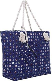 Große Strandtasche mit Reißverschluss 58 x 38 x 18 cm Strand-Maritim Design blau Shopper Schultertasche