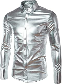 Men's Metallic Silver Disco Long Sleeve Button Down Shirts