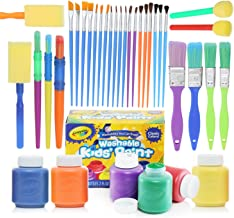 Complete Set of 30 Paint Brushes Bundle with Crayola Washable Kid's Paint (6 count) – Washable Kids Paints and Paintbrush Set - 2oz Assorted Bottles – Perfect for Kids Age 3+