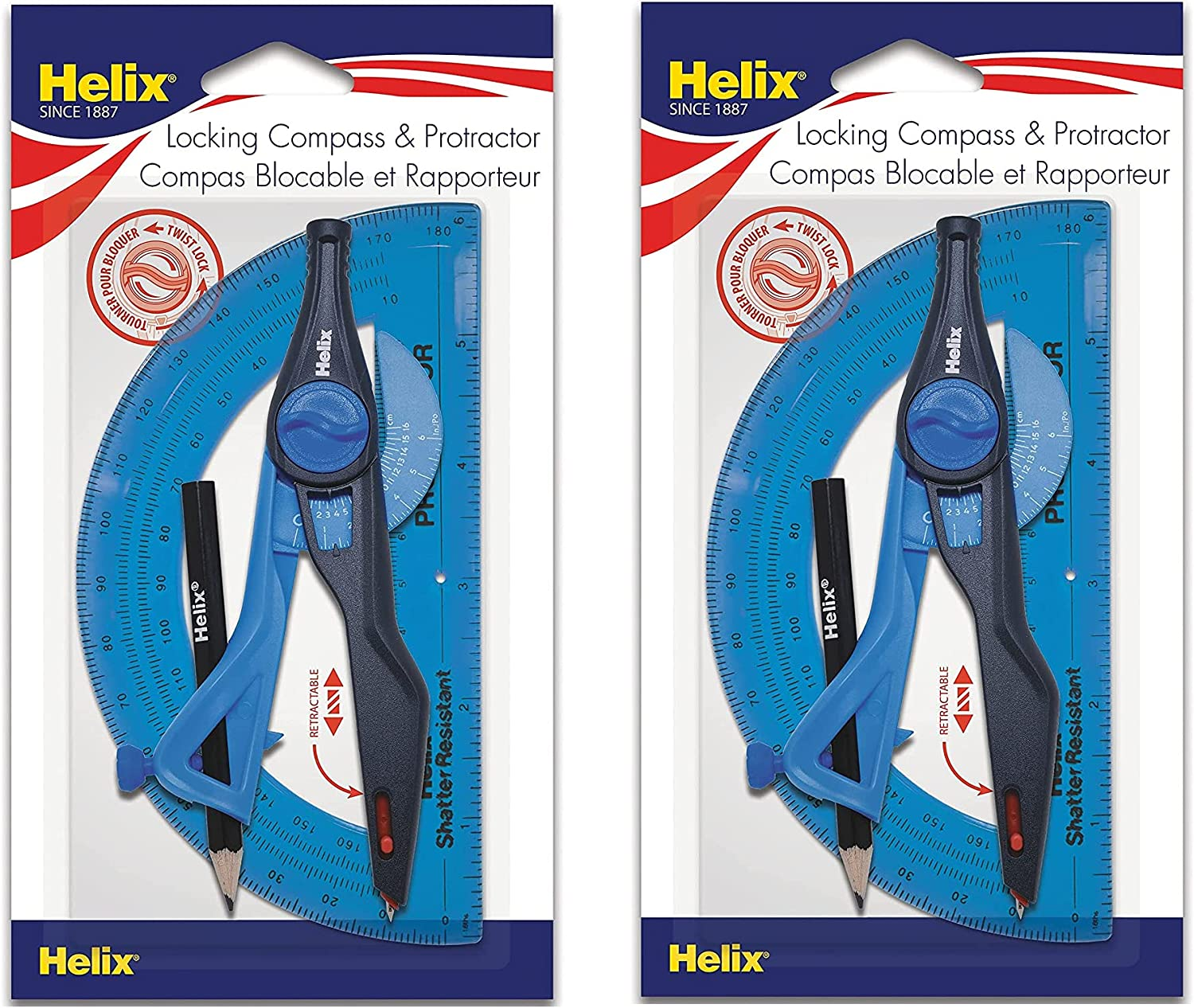 Helix Universal Locking Compass and Set Protractor Las Vegas Mall Popular product Col Assorted