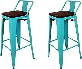 La Silla Española - Pack 2 Taburetes estilo Tolix con respaldo y asiento acabado en madera. Color Turquesa. Medidas 95x43x43