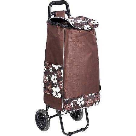 Amazon Basics - Carrello portaspesa con 2 ruote, capacità: 40 litri, marrone, con design a fiori