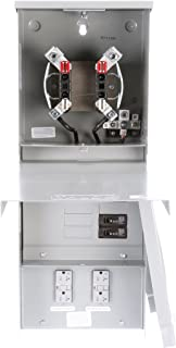 Siemens TL77RT Talon Temporary Power Outlet Panel with Two 20A Duplex Receptacles Installed Includes a Top Fed, Ringless Type, Meter Socket Provision