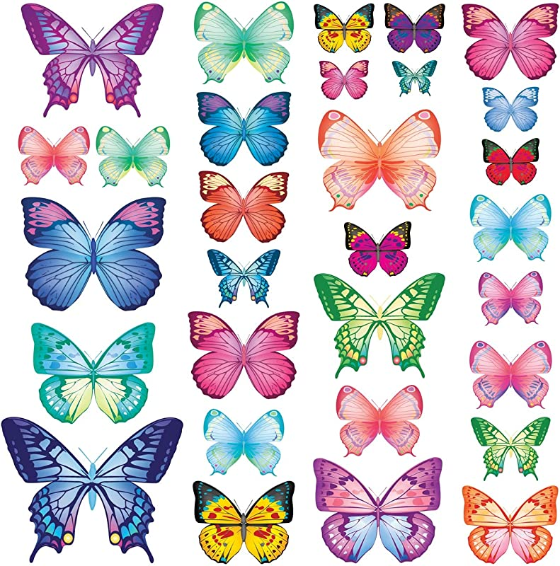 Decowall DW 1302 30 Vibrant Butterflies Kids Wall Stickers Wall Decals Peel And Stick Removable Wall Stickers For Kids Nursery Bedroom Living Room