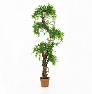 Vert Lifestyle Quality Artificial Japanese Fruticosa Tree (Choose Colour Options: Green/Red/with Flowers) Replica Indoor Office Topiary Tree Plant - 165cm Tall (Come with Flowers)