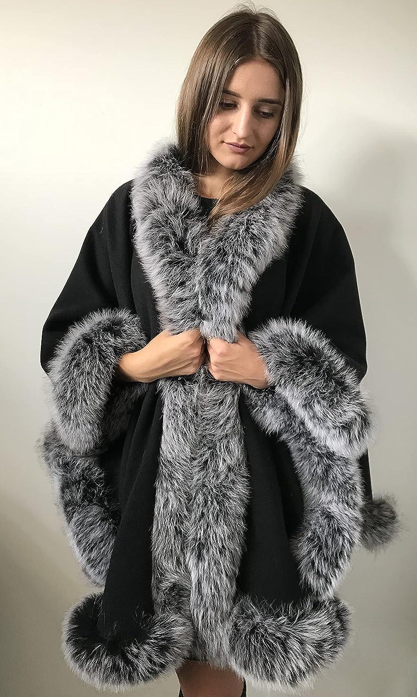 Poncho Cape Coat cashmere Super popular specialty store Super sale fur trim fox