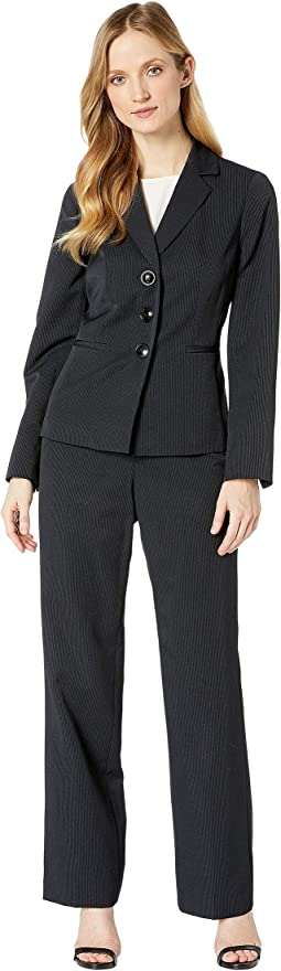 Three-Button Peak Lapel Stripe Pants Suit