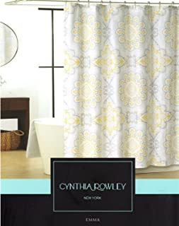 Cynthia Rowley Emma Medallion Damask Shower Curtain In Shades Of Grey, Yellow, Pale Aqua & White