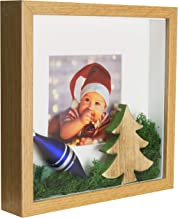 BD ART 11x11 (28 x 28 x 4.7 cm) Oak Shadow Box 3D Square Picture Frame with Mat for 8x8 inch Photo, Glass Front