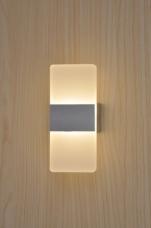 Topmo 3W Warmweie Wandlampe LED Wandleuchten ideal für Schlafzimmer Wohnzimmer Treppenhaus und Lounges   1406012MM   led Flurlampe in Acryl   CE Zertifizierung   aluminium Gebürstet