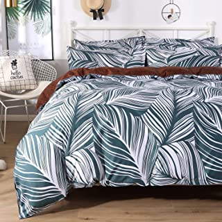 Colorxy Floral Lightweight Duvet Cover 3 Piece Set - Ultra Soft Microfiber Reversible Leaf Printed Comforter Cover with Zipper Closure, Corner Ties and 2 Pillow Sham, King (104x90 inches)