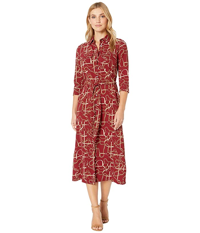 Donna Morgan  Status Print 3/4 Sleeve Lightweight Stretch Crepe Collared Shirtdress (Wine Status) Womens Dress