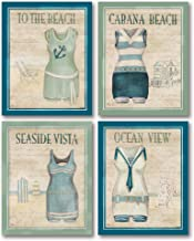 Vintage Bathing Suits: Cabana Beach, Seaside Vista, Ocean View, to the Beach; Four 8x10in Prints