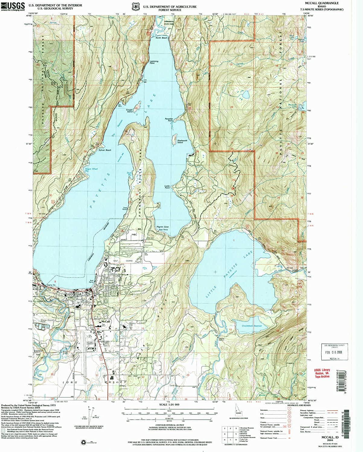 McCall ID topo map, 1 24000 Scale, 7.5 X 7.5 Minute, Historical, 2004, Updated 2007, 26.8 x 22 in
