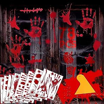 Halloween Window Clings,78 PCS,Halloween Party Decorations,Halloween Window Decorations,Zombie Decorations,Windows Stickers Bloody Handprint Footprint Glass Sticker,8 Large Sheets (78 Pack)