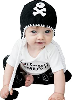 Huggalugs Girls or Boys Pirate Skull Black or Pink Baby Beanie Hat, or Legwarmers