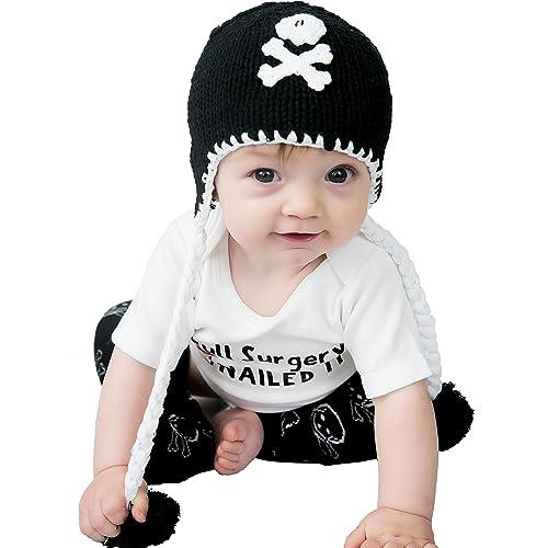d79527e43eb Huggalugs Girls Boys Pirate Skull Black Pink Baby Beanie Hat Legwarmers