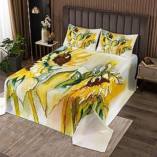 Erosebridal Sunflower Bedding Set for Kids Girls Women Floral Tie Dye Bedspread Oil Painting Blossom Coverlet Set Pastoral...