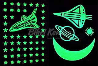Bikri Kendra - Art BKNG02 Stars Fluorescent Night Glow in th Dark Wall Sticker (Pack of 2 Galaxy)