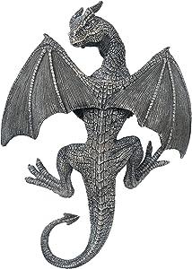 """Bella Haus Design Dragon Winged Gargoyle Fence Hanger – 14"""" Length Outdoor Wall Decor- Detailed Fence Topper Hanging Statue- Gothic Climbing Grotesque Dragon for Fence, Garden Patio, Porch"""